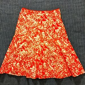 Talbot's Orange Pleated Midi Skirt Size 6